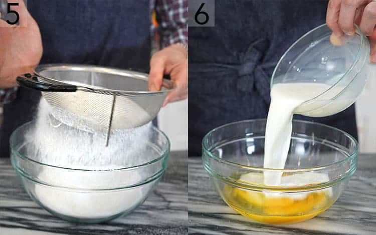 two photos showing wet and dry ingredients getting mixed for pineapple upside down cake
