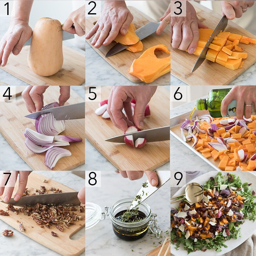 A photo grid showing the steps to make a roasted squash salad.