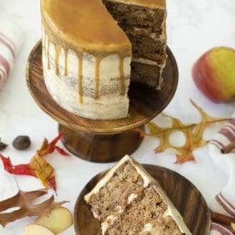 three layer apple spice cake topped with caramel drizzle
