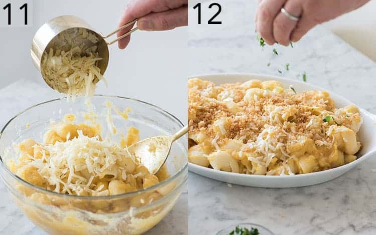 Two photos showing butternut squash mac and cheese getting final touches..