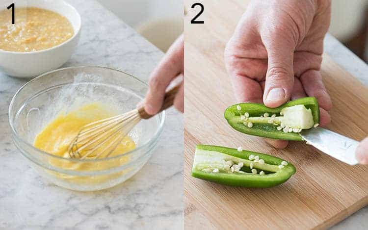 Two Photos showing eggs getting whisked and jalapeños being deseeded