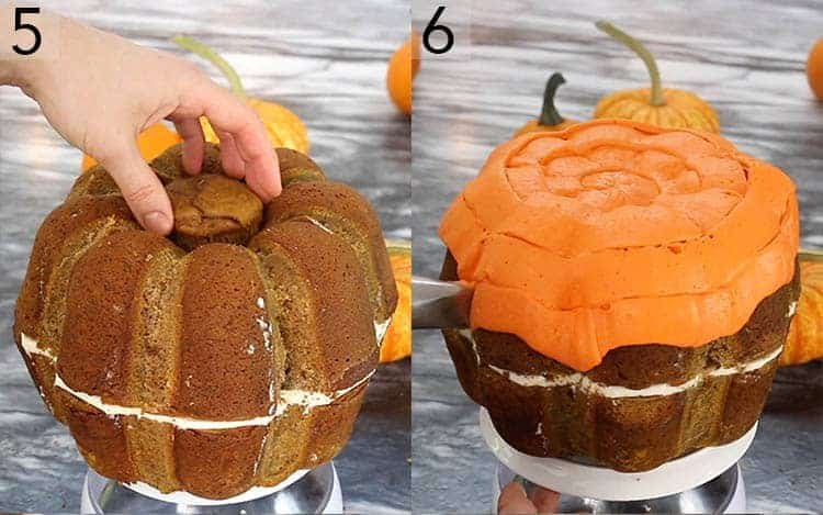 Two photos showing a large pumpkin shaped cake being assembled and covered in orange buttercream