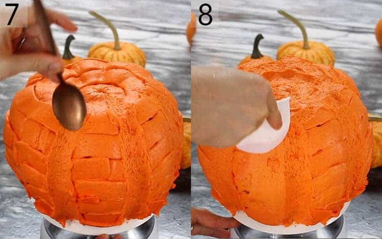 Two photos showing an orange pumpkin bundt cake getting smoothed