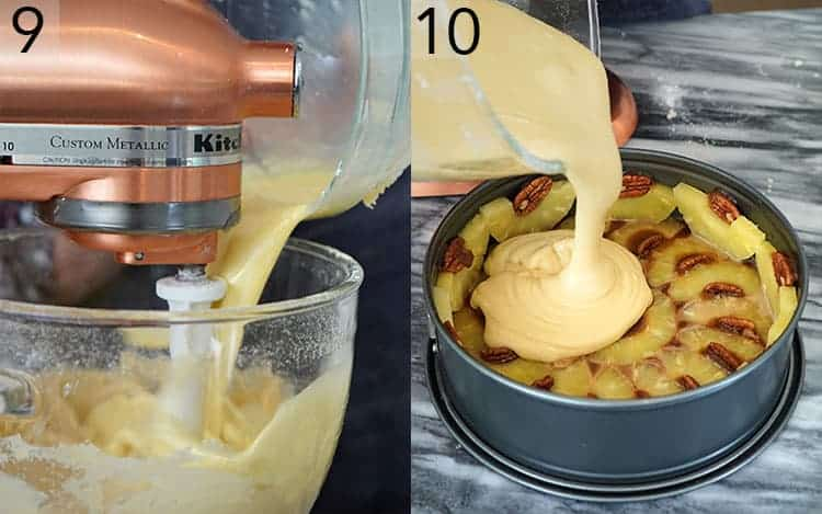 two photos showing batter getting poured into a pineapple upside down cake