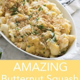 butternut squash mac and cheese in a white serving dish