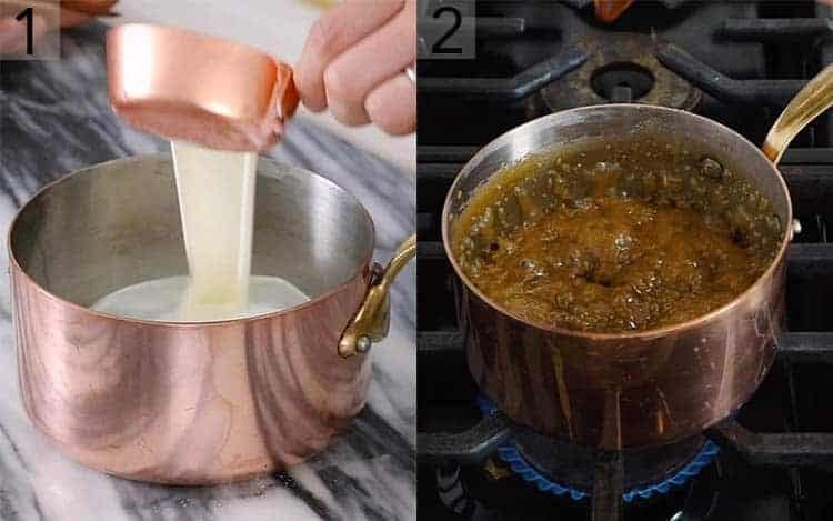 Caramel getting made in a copper pot.