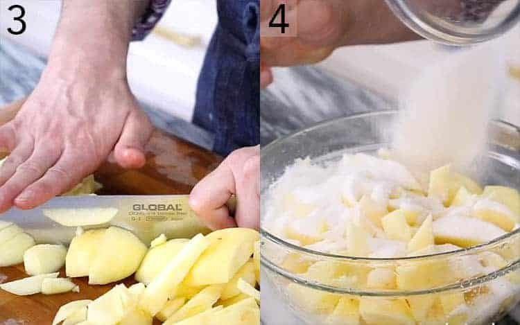 Apples getting sliced and sprinkled with sugar.