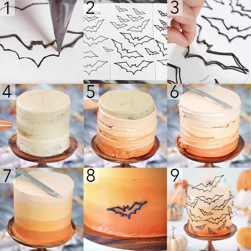 A photo showing steps on how to assemble a orange ombre cake with edible bats all over it.