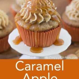 caramel apple cupcake on a small stand