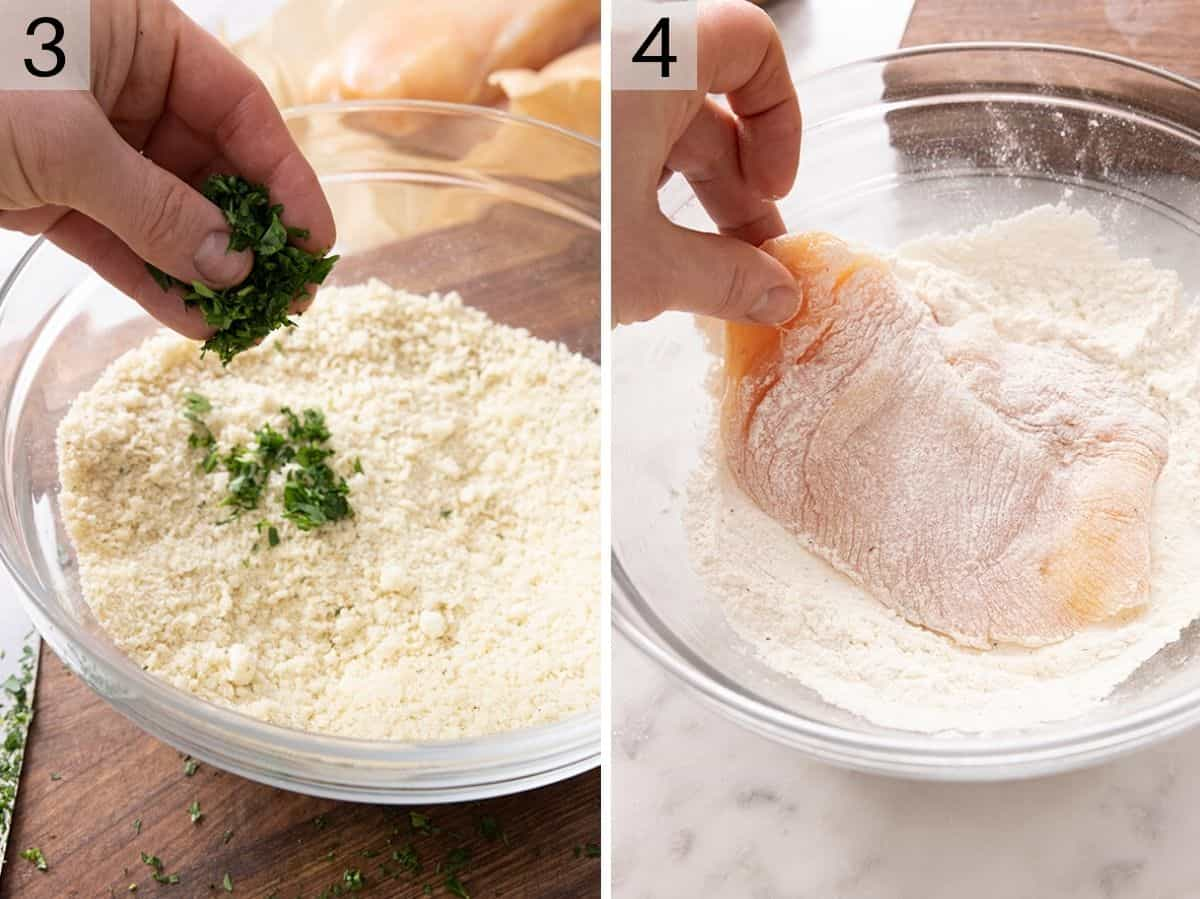 Two photos showing how to make seasoned breadcrumbs and dredge chicken in flour