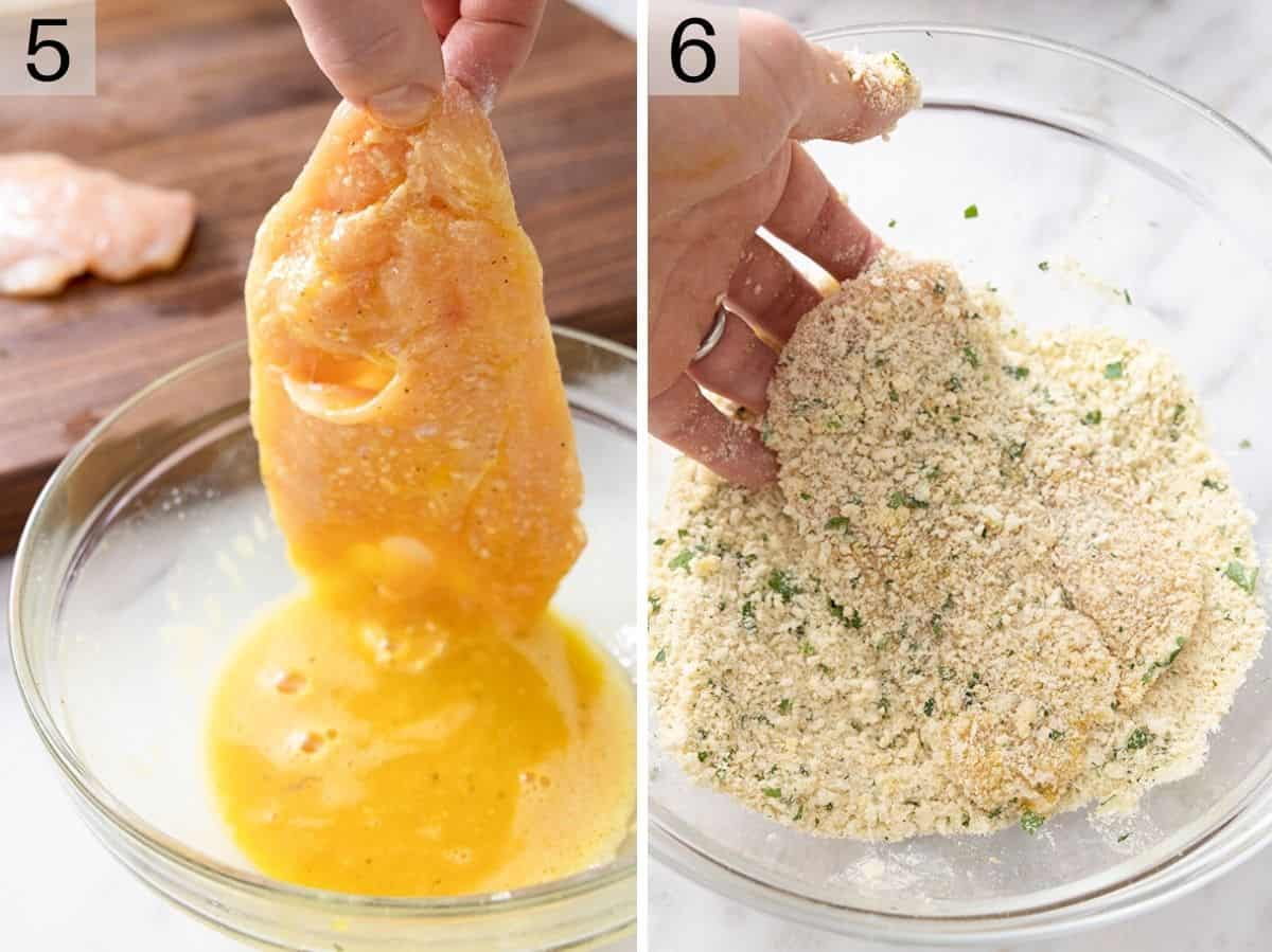Two photos showing chicken getting sipped in egg then breadcrumbs