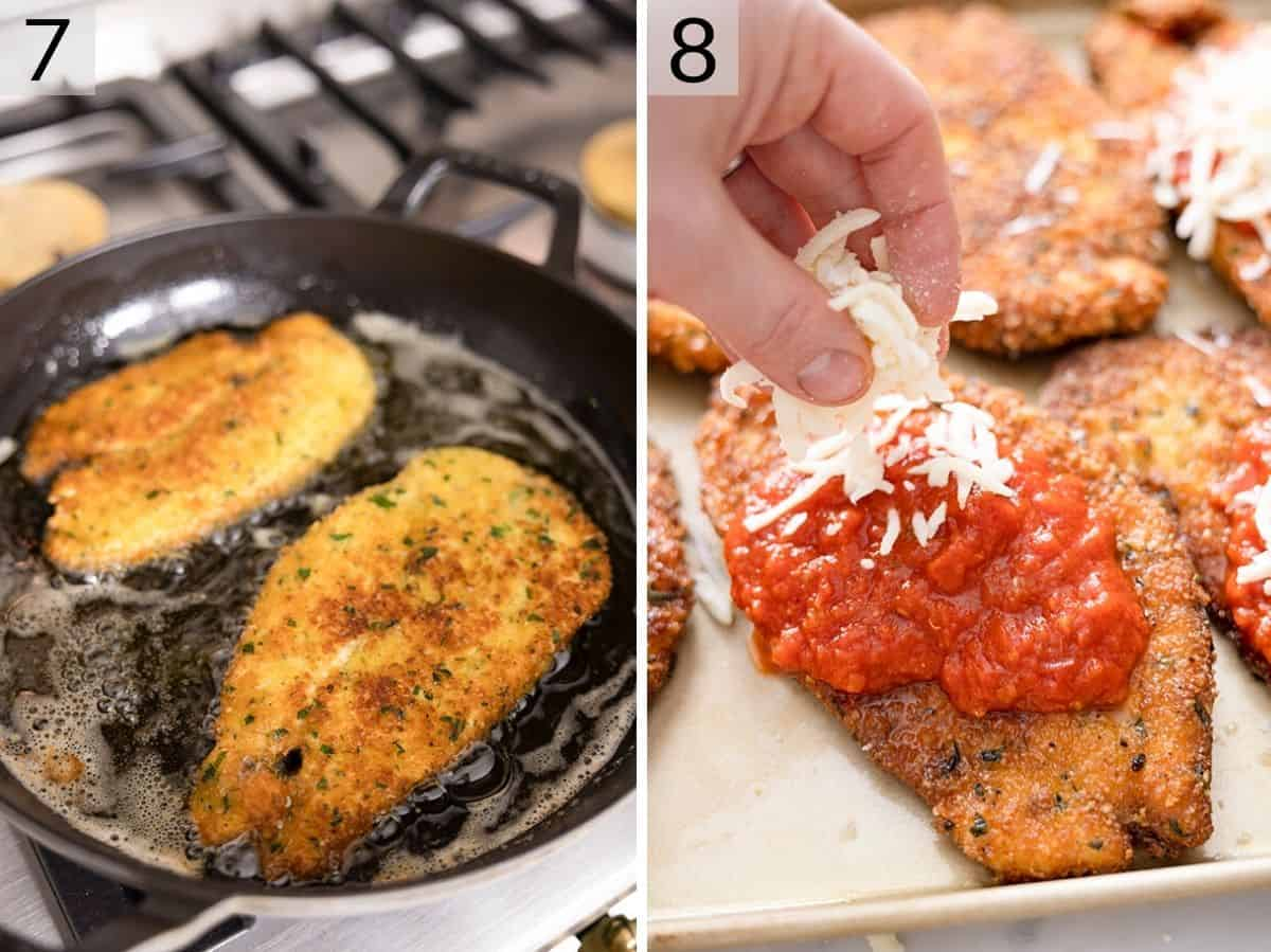 Two photos showing cooked chicken parmesan getting topped with marinara sauce and mozzarella