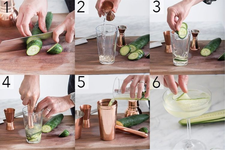 A photo showing steps on how to make a gin martini.