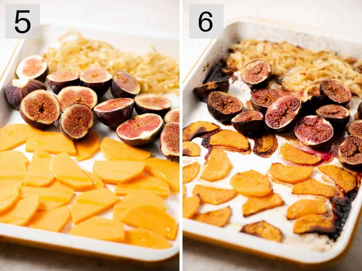 Two photos showing figs, squash and onions before and after roasting