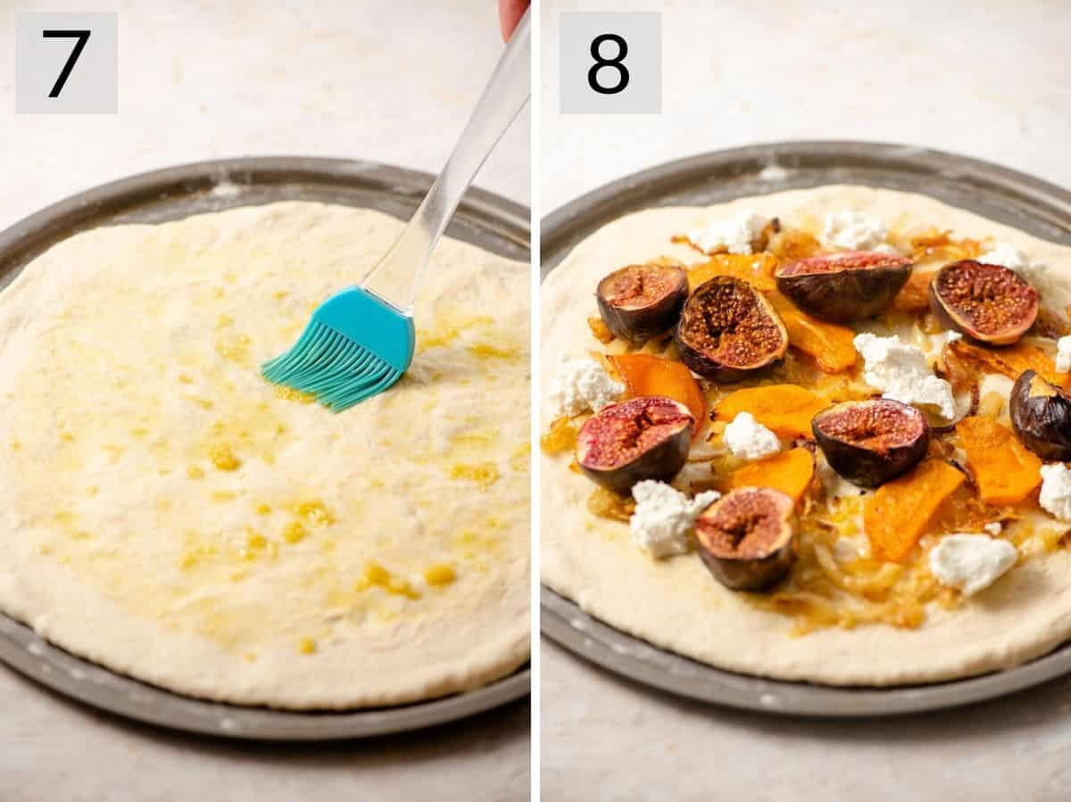 Two photos showing how to top a pizza fall inspired toppings