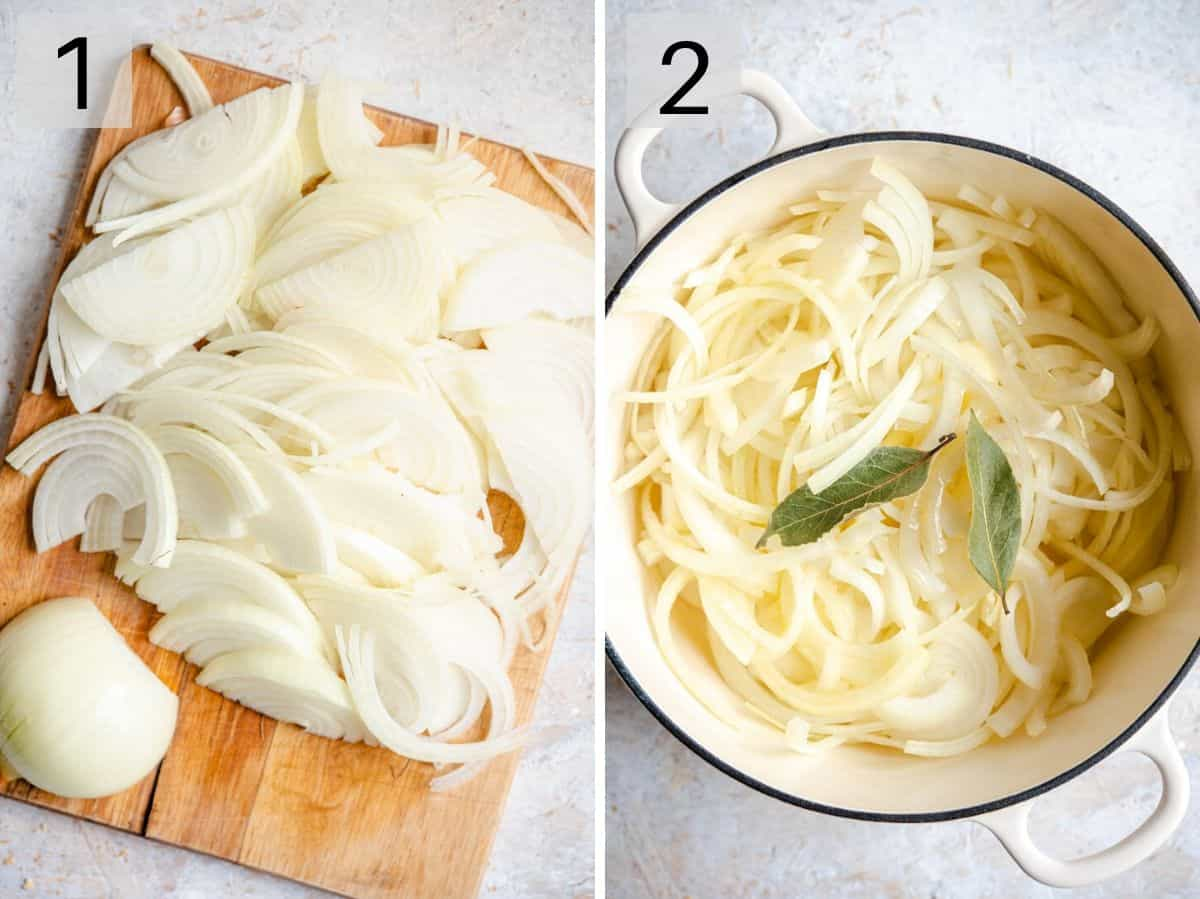Two photos showing how to slice onions to saute them in a pot