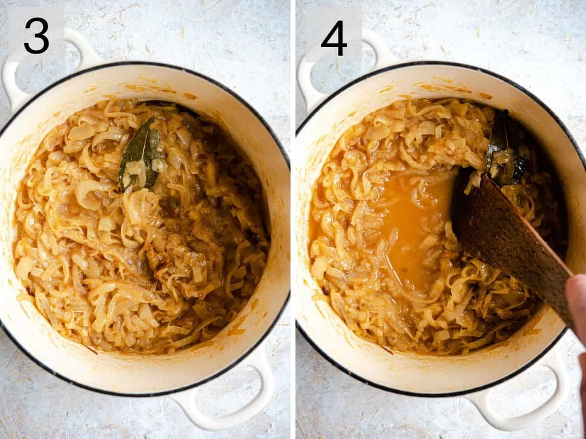 Two photos showing how to caramelize onions to make soup