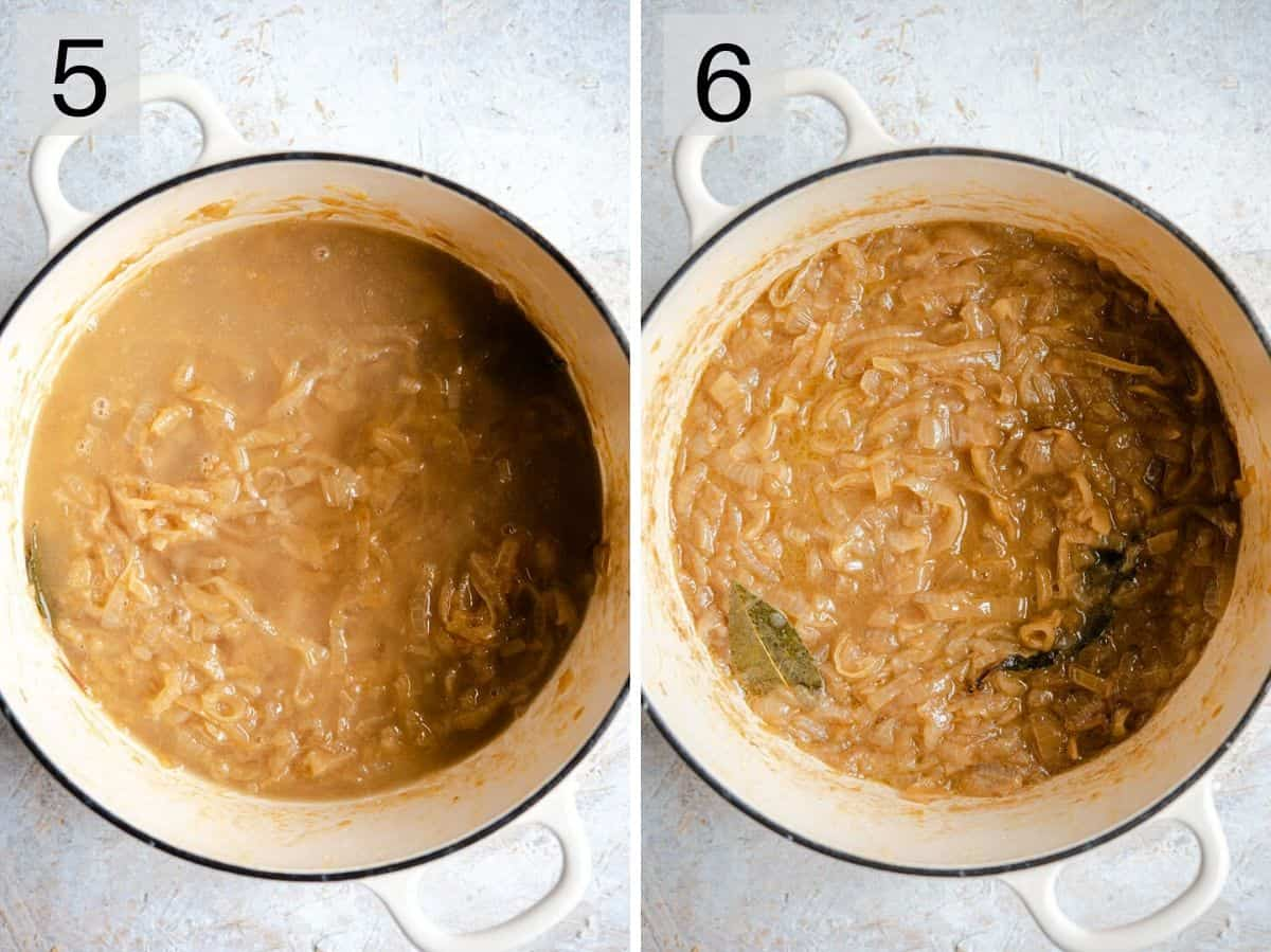 Two photos showing how to add wine to onion soup