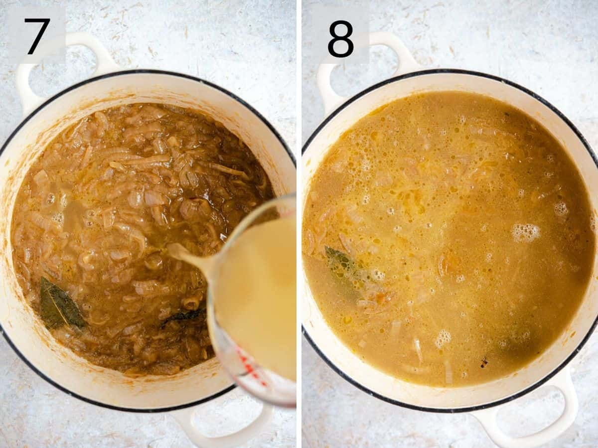 Two photos showing stock getting added to onion soup