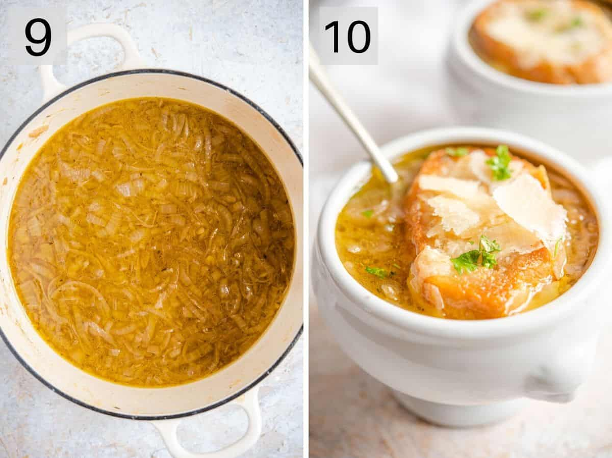 Two photos showing how to serve French Onion Soup