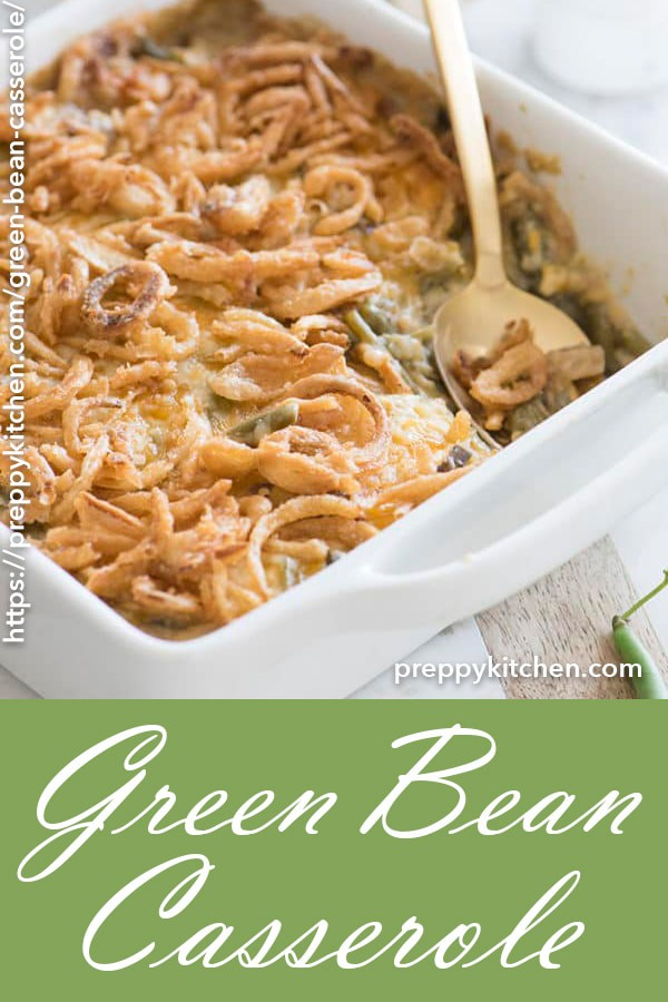 An amazing, savory dish containing green beans and mushrooms, topped with crispy onions and complimented with heavenly cheese. This creamy and classic green bean casserole is almost too good to be true!