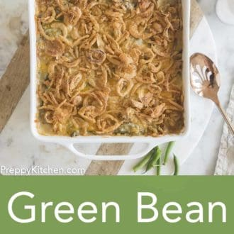 green bean casserole in a white casserole dish