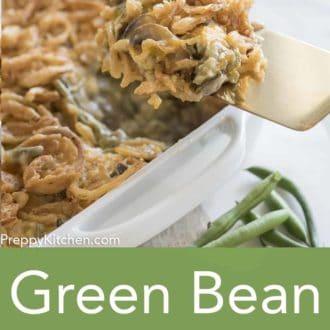 green bean casserole in a casserole dish