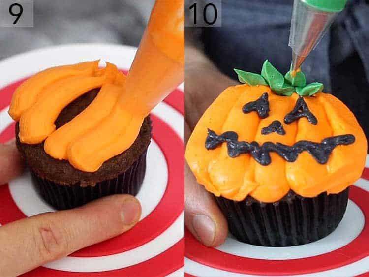 A Jack O lantern cupcake getting decorated.