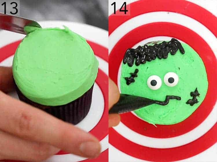 A Frankenstein cupcake getting decorated.