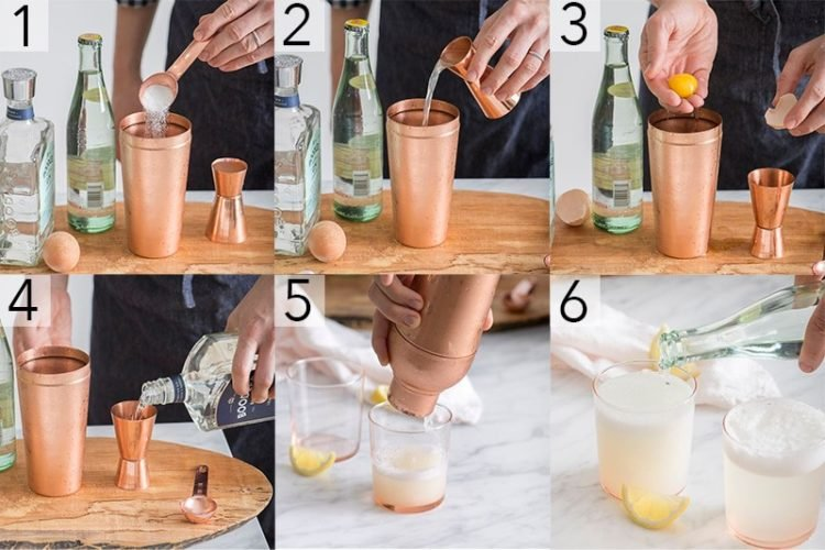 A photo showing steps on how to make a gin fizz cocktail.
