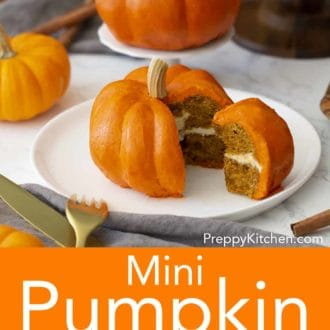 mini pumpkin bundt cake decorated to look like an actual pumpkin