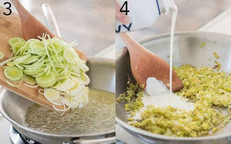 leeks getting sautéed and then mixed in with cream