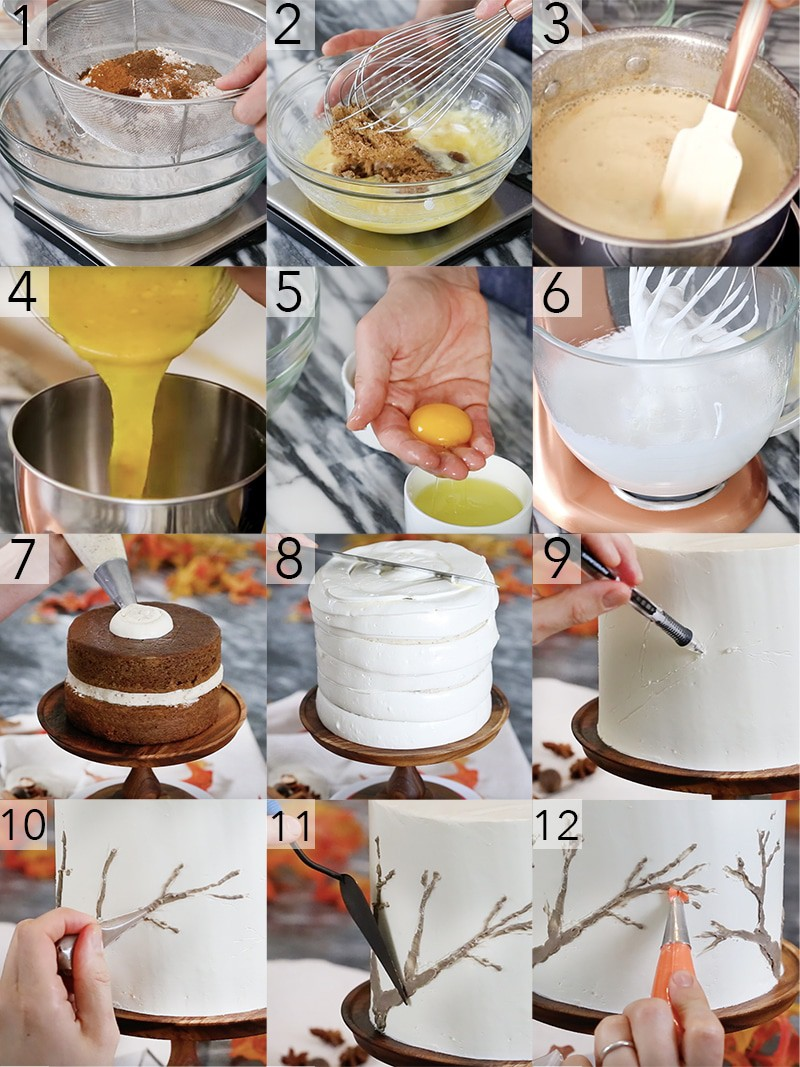 A photo showing steps on how to make a spice cake.