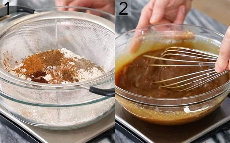 Two images showing the batter for spice cake being made.