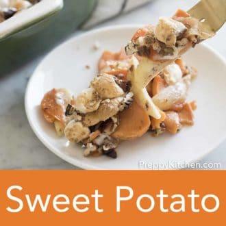 sweet potato casserole on a white dish