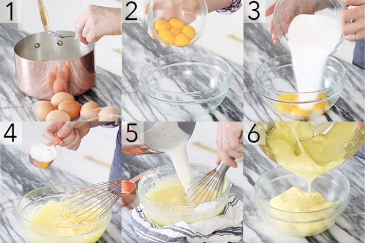 A photo showing steps on how to make dreamy vanilla custard.