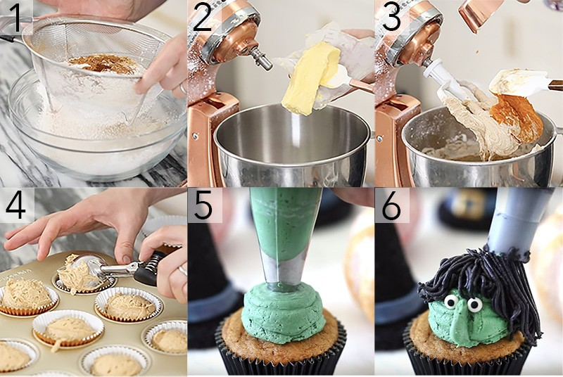 A photo showing steps on how to make witch cupcakes.