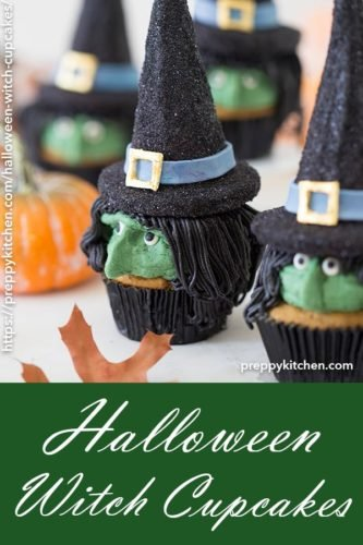 A clipping of cupcakes with witch faces and edible witch hats on top.