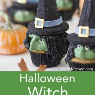 halloween witch cupcakes in black cupcake papers