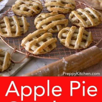 mini apple pies on a wire cooling rack