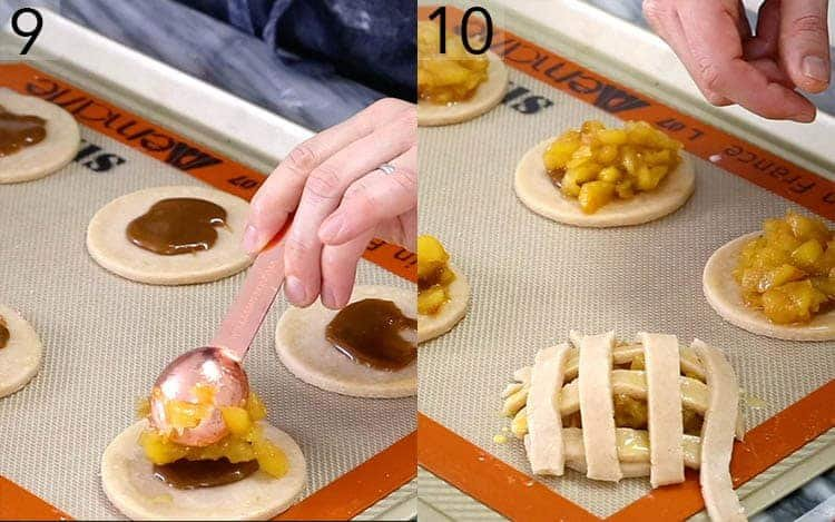 Apple pie cookies getting assembled