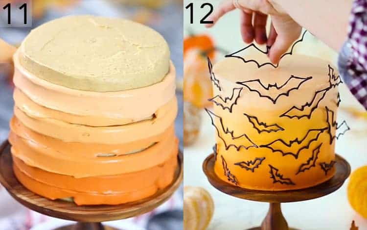 An orange ombréof buttercreams being pipedonto a cake and then bats are placed on.