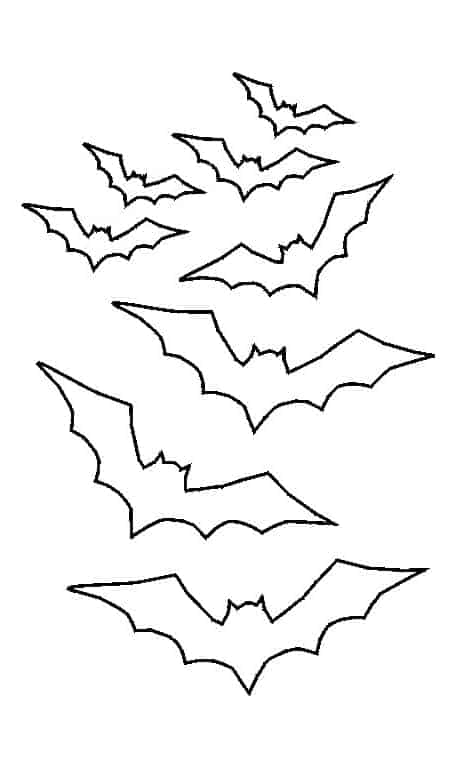 A photo of bat outlines which you can print out to make this cake
