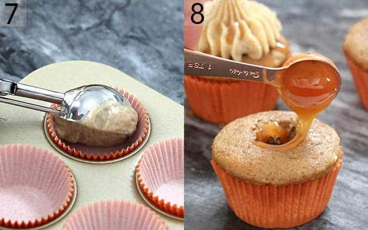 Two photos showing caramel apple cupcake batter going into a paper and then getting filled with caramel.