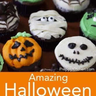 various cupcakes with halloween decoration