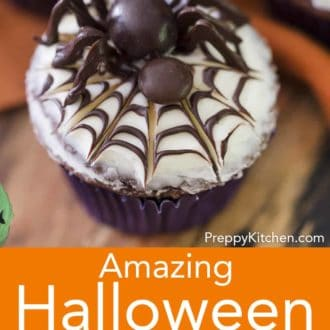 halloween cupcake with spider decoration