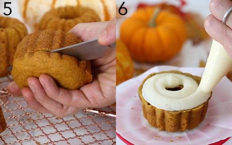 Two photos showing pumpkin bundt cakes being trimmed and assembled.