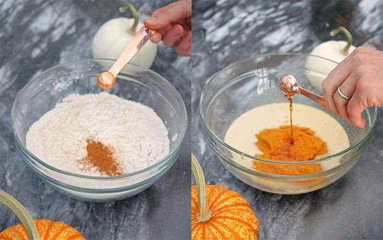 a photo collage showing wet and dry ingredients being mixed to make pumpkin bread