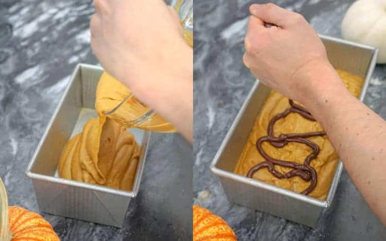 a photo collage showing pumpkin bread batter being finished