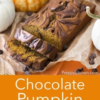 sliced chocolate pumpkin bread on parchment paper